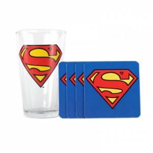 SUPERMAN Logo Glass Coaster Set ČAŠA I PODMETAČ